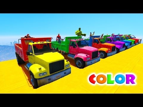 FUN COLOR TRUCKS Extreme Jump from MOUNTAIN! Cartoon for children with superheroes. (видео)