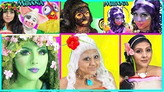 """Hello Princess!I hope you enjoy my Moana compilation video of all the makeup tutorials i did. Today I transformed myself into the Goddess Te fiti, Lava monster teka, Grandma tala, Tamatoa, Sina, PUa, Hei hei, and moana voyager! These are characters from the new movie from Disney Moana. From Lava monster to a beautiful Goddess of nature, Te fiti. Let me know if you would like for me to do more disney princess or any disney character transformation makeup, costume, and beauty tutorial. We are so excited for the new movie, Disney beauty and the beast new movie live action, so stay tuned for make up transformations coming soon! Belle, ( Emma watson) beast, lumiere, Gaston, Cogsworth, Plumette, Ariana Grande and JOhn Legends song """"Tale as old as time cover is coming too!! Mrs.Potts and Chip!The last fight scene and ending battle was my favorite!Moana vs Lava monsterHere are some of the products I used in the video:Morphe 35 c Pallette:  https://goo.gl/dELuSKGreen Paint by Paradise: https://goo.gl/5djKD2Feather lashes: https://goo.gl/lb9GOYGreen Lipstick Shany: https://goo.gl/SQQug2NYX Ombre lip duo: https://goo.gl/qDwpAJL'Oreal Colour Riche Eyeliner : https://goo.gl/CxX8eAMorphe 352 Countour Brush : https://goo.gl/DA1VV5Green Dress : https://goo.gl/IF6UPdHello Princess!I hope you enjoy this quick hair and makeup tutorial for the beautiful NEW Disney Princess Moana!!I am wearing  DIY Moana Costume. I am know there are halloween costumes for little girls at the disney store, there is just none for adults, so I made my own. To purchase a Moana Childs Wig and costume click on the links below. Adult Wig:  https://goo.gl/YL6qNcChild Costume : https://goo.gl/FYaFUPPlease check out our other videos on our DIsney Princess Channel where we have Moana toys, surprises, giant eggs, and more! Disney Moana Starlight Canoe and Friends is a beautiful toy!We just loved it! We have watched the Moana Trailer so many times, we CAN'T WAIT FOR THE MOVIE in Thanksgiving 2016!!!!!!!!I love DISNE"""