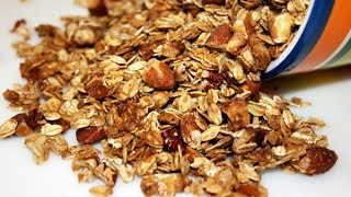 """Six Ingredients. Super Easy Recipe. Mix and bake all in the same pan. Jenny Jones makes the best granola ever full of crunchy, toasty oats & nuts. """"If my granola recipe was any easier,"""" she says, """"it would make itself.""""MORE VIDEOS: http://www.youtube.com/user/jennyjonesvideosNEW RECIPES: http://www.JennyCanCook.comSHARE: Use this link to share Jenny's Easiest Granola Ever video: http://youtu.be/RZq4WKuyD48SUBSCRIBE: Cooks are loving Jenny's easy, fun videos. Use think link to subscribe: http://www.youtube.com/subscription_center?add_user=jennyjonesvideosPRINTABLE RECIPES: http://www.JennyCanCook.comYOU MIGHT LIKE:Quick & Easy Flatbread - http://youtu.be/jvKGaLv4-wEBest Meatloaf You've Ever Had - http://youtu.be/HQtOXHghaL0Easy Pan Pizza - http://youtu.be/o-jcIWwTbJgEasy Brownies - http://youtu.be/SQ3y-IsP1ucHash Browns - Perfect Every Time - http://youtu.be/O0dbSxAKljkMore on Jenny: http://www.JennyJones.comPinterest: http://www.pinterest.com/jennycancook/Twitter: https://twitter.com/jennyskitchenFacebook: https://www.facebook.com/JennysHealthyHomeCooking© Copyright 2014 - Jenny Can Cook - Jenny Jones"""