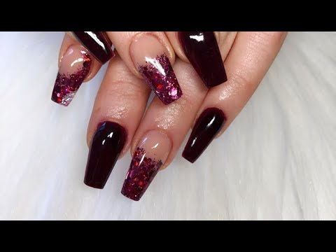 Mulberry Acrylic Nails  Short Tapered Square