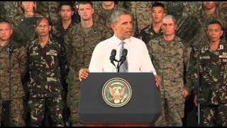 اوباما در جمع سربازان آمريکايی و فيليپينی