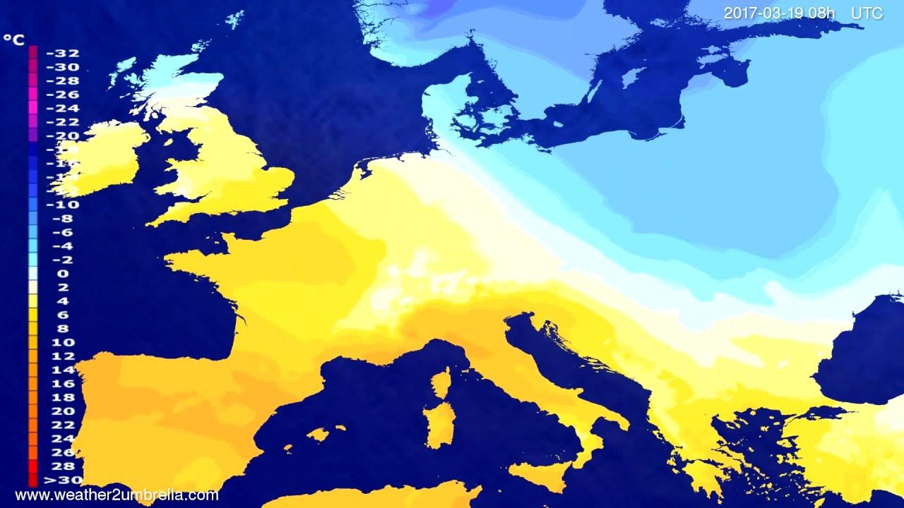 Temperature forecast Europe 2017-03-16