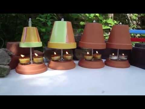 Teelichtofen im Sommer mit Windschutz  - Test im Garten - digitale Temperaturmessung