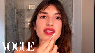 Download Video Jeanne Damas Does French-Girl Red Lipstick—And a 5-Second Easy Bang Trim | Beauty Secrets | Vogue MP3 3GP MP4