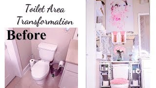 DIY TOILET AREA TRANSFORMATION! LUXURY HOME DECOR IDEAS FOR LESS!