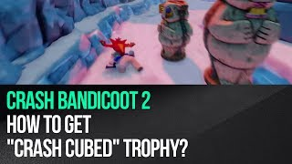 "This video shows how to unlock the ""Crash Cubed"" trophy in ""Crash Bandicoot 2: Cortex Strikes Back"" for the PS4. This trophy is awarded for sending Crash flying to his death. It may seem complicated, but it's quite easy actually. Start the level ""Bear Down"" which is accessed through one of the portals in the Sewer Warp Room. Keep riding the bear until you encounter a second group of tribesmen holding an ice block. Move to the left and jump to hit the ice block. Crash will start flying and he must end up in the freezing water so that he'll die and the trophy will pop.► MORE GAME GUIDEShttp://guides.gamepressure.com/► FOLLOW UShttps://twitter.com/gamepressurecomhttps://www.facebook.com/gamepressurecom"