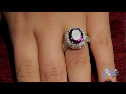 exquisite ring set with AAA high quality oval amethyst color center stone - item #6005