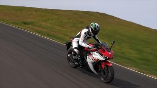 10. Yamaha's R3 sportbike proves that track riding on a basic bike doesn't have to be boring