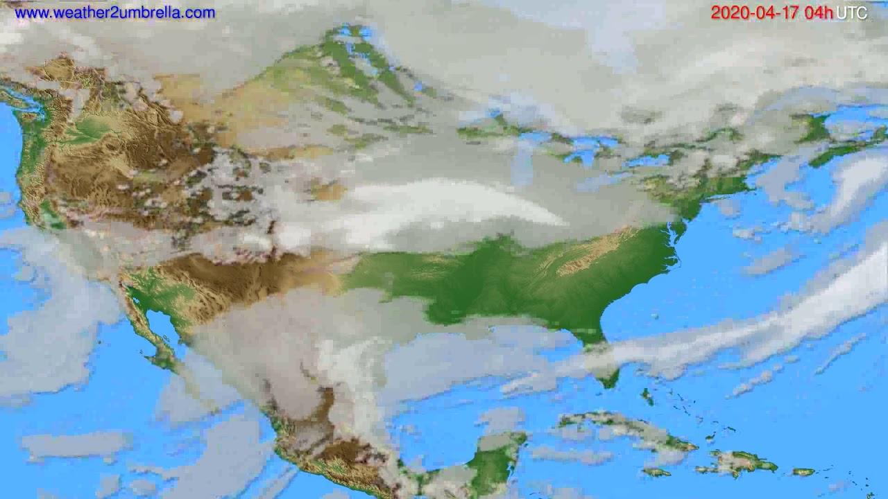 Cloud forecast USA & Canada // modelrun: 12h UTC 2020-04-16