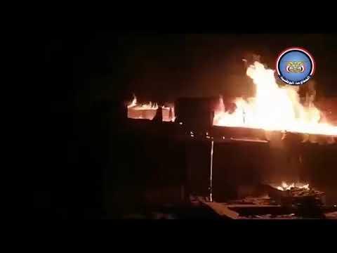 جماعة الحوثي تحرق مجمع مصانع إخوان ثابت في محاولة فاشلة لتقدم