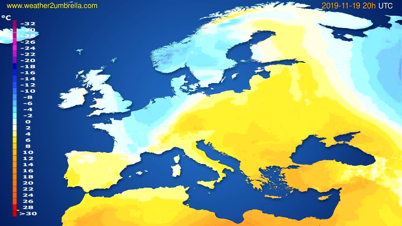 Temperature forecast Europe // modelrun: 12h UTC 2019-11-18