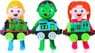 KIDS PLAYING WITH A TOY TRAIN ❤ PLAY DOH CARTOONS FOR KIDS