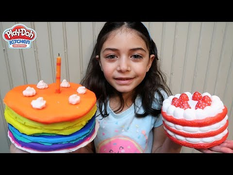 Pretend Play with Squishy Strawberry Cake Play Doh for Kids