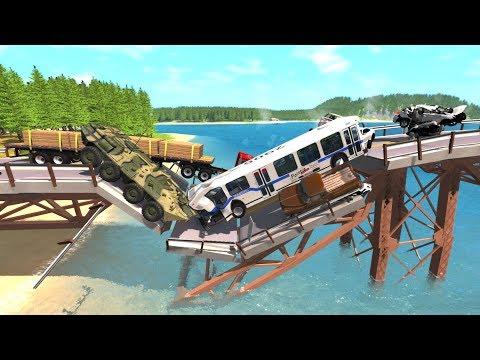 Collapsing Bridge Pileup Crashes #11 - BeamNG Drive Crash Testing