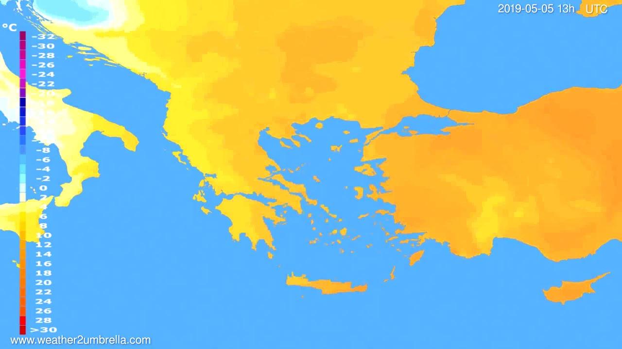 Temperature forecast Greece // modelrun: 12h UTC 2019-05-03