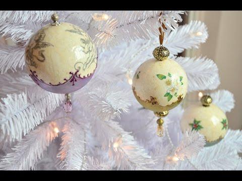 decoupage su sfera di polistirolo - decorazioni natalizie
