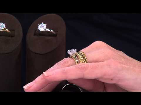 Diamonique 100-Facet 2 ct Solitaire Ring 14K Gold with Jennifer Coffey
