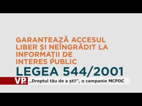 """""""Dreptul tău de a ști!"""", o campanie MCPDC"""