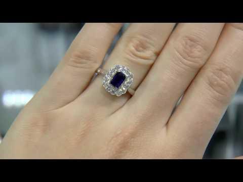1.33 Carat Emerald Cut Sapphire Halo Ring GR019