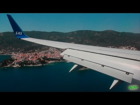 SAS 737-700 Stunning Approach, Firm Landing and Taxi at Skiathos Airport!