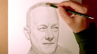 Tom Hanks Pencil Portait Speed Drawing