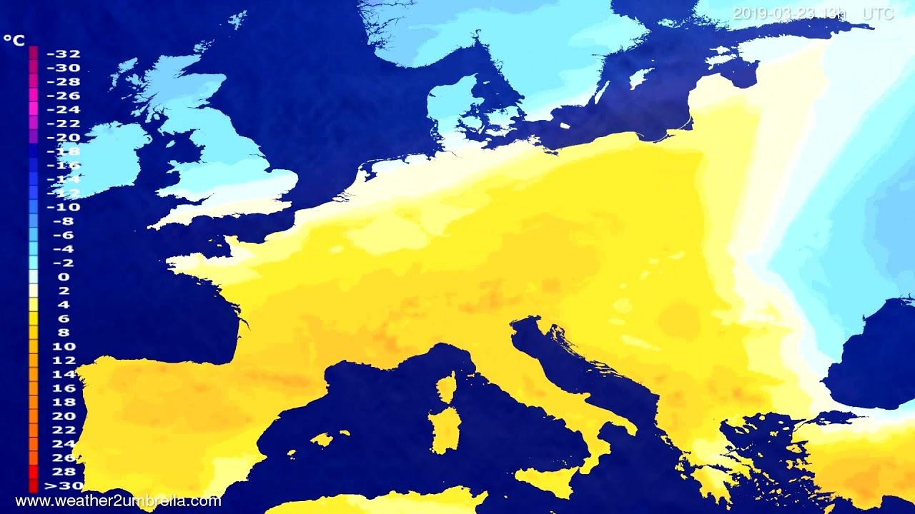 Temperature forecast Europe 2019-03-23