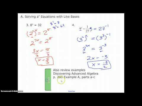 Solving Simple Exponential Equations