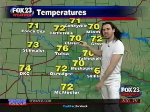 AndrewWK - Andrew W.K. does the weather forecast on Fox23's morning news show in Tulsa, Oklahoma. Immediately after this broadcast, Andrew was charged with inappropriat...