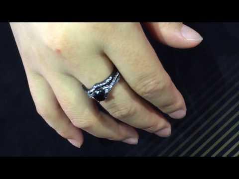 round cut black cubic zirconia sterling silver engagement wedding bridal set black gold filled