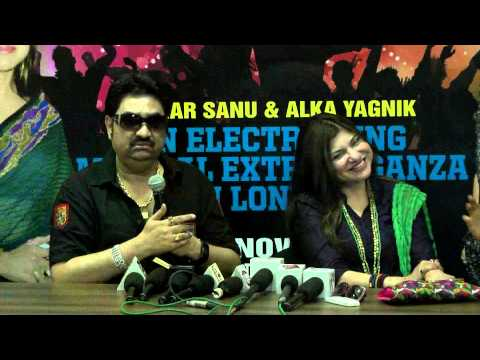 Kumar Sanu and Alka Yagnik unveil the logo for their London concert presented by Stardust