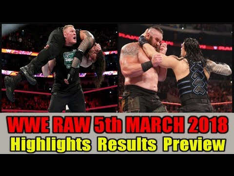 WWE Monday Night Raw 5th March 2018 Hindi Highlights Preview - Roman Reigns vs Brock Lesnar Results