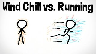 """Hi! My name is Henry, I make MinutePhysics, and you can support me on Patreon: http://www.patreon.com/minutephysicsIs it better to walk or run when it's cold out? If you run, then you have to deal with wind, wind chill, etc, but your body generates more heat. If you stay still, standing or walking slowly, you don't generate as much heat, but don't deal with the wind. Note: the simple calculations in this video don't very well take into account the baseline metabolic rate/heat generation, even at rest, of humans.REFERENCESPhysics of Running Presentation: http://uw.physics.wisc.edu/~reardon/Physics%20of%20Running.pdfOriginal Wind Chill Index formula: https://www.amazon.com/Factors-Design-Handbook-Wesley-Woodson/dp/0070717680""""The Basis of Wind Chill"""" paper: http://pubs.aina.ucalgary.ca/arctic/Arctic48-4-372.pdfBody surface area calculator: http://www.calculator.net/body-surface-area-calculator.htmlNewton's Law of Cooling: https://en.wikipedia.org/wiki/Newton%27s_law_of_coolingBoundary Layer: https://en.wikipedia.org/wiki/Boundary_layerMinutePhysics is on Google+ - http://bit.ly/qzEwc6 And facebook - http://facebook.com/minutephysicsAnd twitter - @minutephysicsMinute Physics provides an energetic and entertaining view of old and new problems in physics -- all in a minute!Created by Henry Reich"""