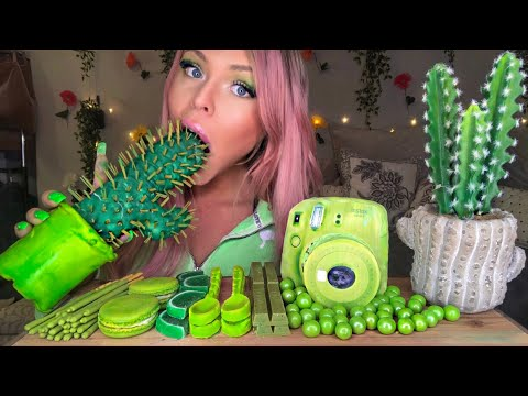 ASMR GREEN FOOD EDIBLE CACTUS PLANT (FAKE), INSTAX POLAROID CAMERA FUJIFILM, SPOONS EATING SHOW 먹방