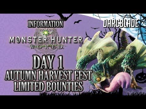 DAY 1 LIMITED BOUNTIES : AUTUMN HARVEST FEST : Monster Hunter World (видео)