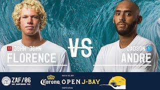 John John Florence battles Jadson Andre in Round Three, Heat 6 at the 2017 Corona Open J-Bay. #WSL #jbay Subscribe to the...