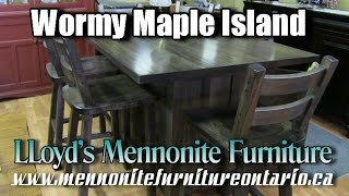 Wormy Maple Kitchen Island and Chairs