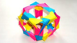 Оригами куб из бумаги 3D. Origami Skeletal Cube