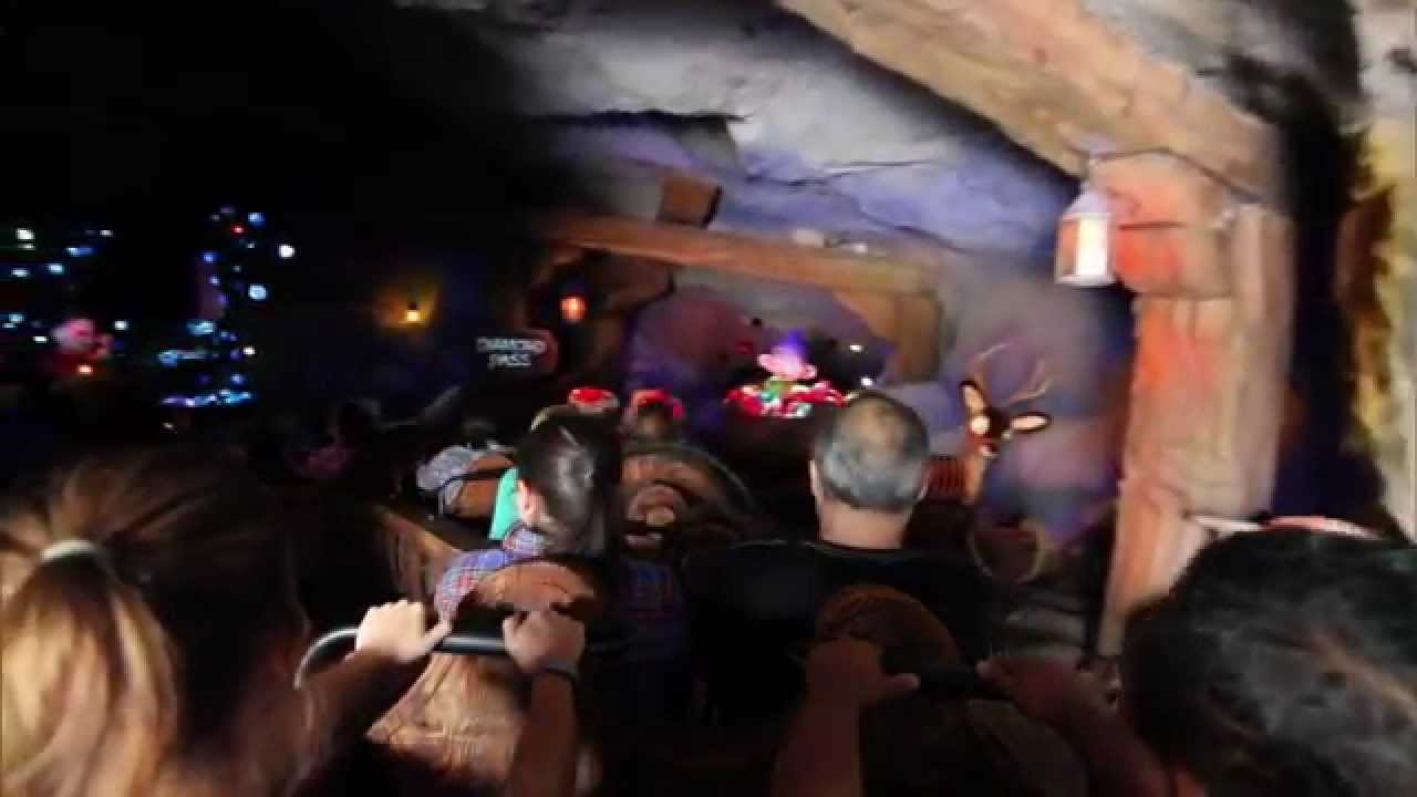 Seven Dwarfs Mine Train ride through with load area and full lift hill