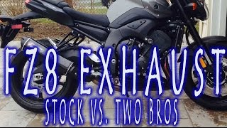 10. FZ8 Exhaust Comparison:  Stock vs. Two Brothers M-2 Silver Series