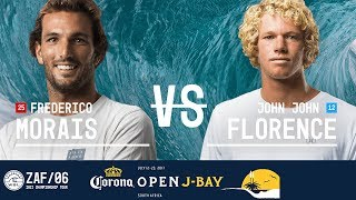 Frederico Morais and John John Florence paddle out in Heat 2 of the Quarterfinals at the 2017 Corona Open J-Bay. #WSL #jbay...
