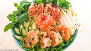 Grilled Shrimp, Egg Rolls and Rice Vermicelli (Bun Cha Gio Tom Nuong)