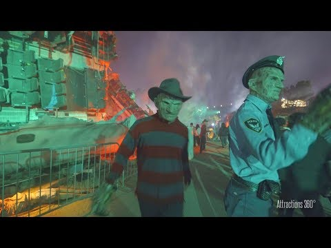[4K]  Chucky, Freddy, Jason, & LeatherFace On Studio Tram - Halloween Horror Nights