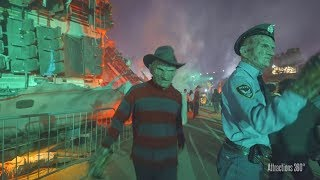 [4K]  Chucky, Freddy, Jason, & LeatherFace on Studio Tram - Universal Halloween Horror Nights