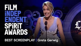 GRETA GERWIG wins Best Screenplay for LADY BIRD at the 2018 Film Independent Spirit Awards