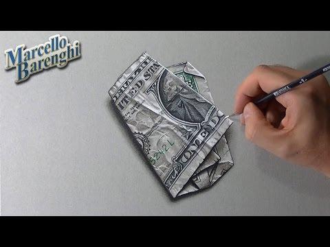 ONE DOLLAR BILL crazy 3D illusion drawing!