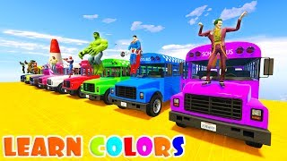 Video LEARN COLOR SCHOOL BUS CLIFF JUMPING  Superheroes Cartoon for kids and babies MP3, 3GP, MP4, WEBM, AVI, FLV Juni 2018