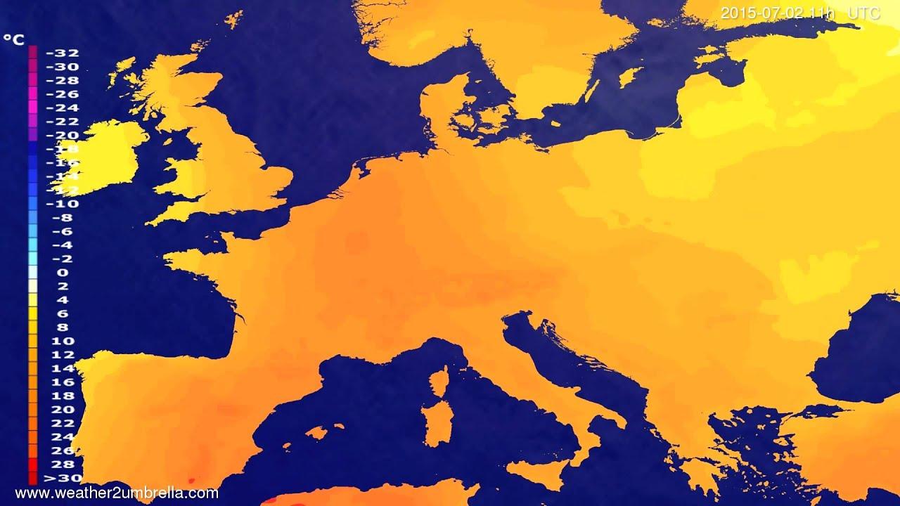 Temperature forecast Europe 2015-06-29