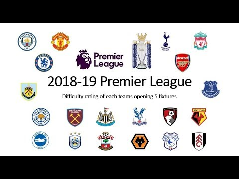 2018-19 Premier League (Difficulty Rating Of Each Teams First 5 Fixtures)