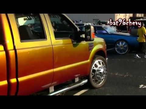 OUTRAGEOUS Orange/Gold/Green Ford F-350 Dually Truck on 24's - 1080p ...