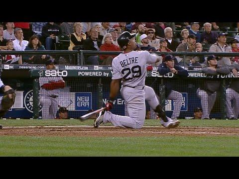 Video: BOS@SEA: Beltre hits long home run on one knee